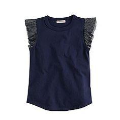 Girls' mesh-sleeve tank top