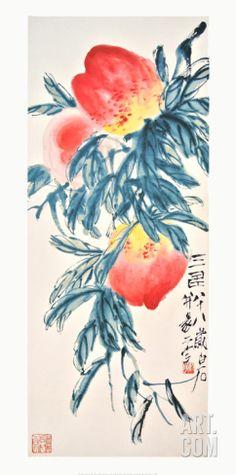 Three Peaches Art Print by Qi Baishi at Art.com