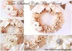 Tea-Stained Coffee Filter Wreath