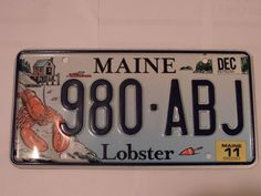 980-ABJ LOBSTER MAINE LICENSE PLATE FREE SHIPPING