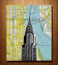 Chrysler Building & NYC Wood-Mounted Map Art by DarkIslandCity on Scoutmob Shoppe