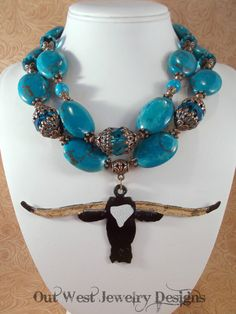 Western Cowgirl Statement Necklace Set  Chunky Dark Turquoise Howlite   Hand Painted Texas Longhorn by Outwestjewelry