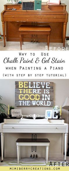 Drab to Fab Piano Transformation using Chalk Paint and Gel Stain. How to turn an ugly family heirloom into a beautiful living room focal point
