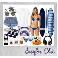 Surf's Up! by eceylmz on Polyvore featuring Uniqlo, Vince, Ray-Ban, Rosanna, Beats by Dr. Dre, Jocelyn, Polaroid, Blue, surf and bluesummer