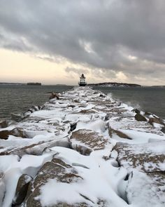 Morning after the storm at Springpoint Ledge Light Lighthouse, ME