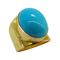 A Turquoise and Gold Ring | From a unique collection of vintage band rings at http://www.1stdibs.com/jewelry/rings/band-rings/