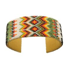 Bracelet Sioux en perles de rocailles multicolores tissées 25 mm | Harpo Paris