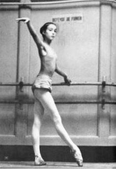 Sylvie Guillem as a ballet student.  She was a young superstar at l'ope´ra de Paris.