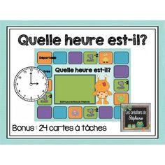 Problématique : Apprendre l'heure ; Quelle heure est-il? (Jeu + cartes à tâches)