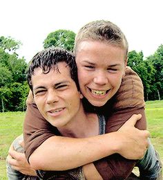 "Dylan O'Brien and Will Poulter. Dylan is like ""he's heavy, get off."""