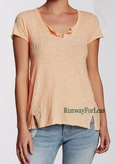 New LUCKY BRAND JEANS Women's Large Orange Folk Embroidered Tee Tshirt Top #LuckyBrand #KnitTop #Casual