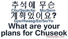 ❋Learn Korean - 39.What are your plans for chusoek? (freshkorean.com)