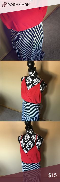 Forever 21 Stripped Maxi Dress Red top Empire waist Floor length Forever 21 Dresses Maxi