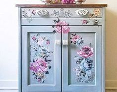 Rub On Transfers For Furniture Furniture Decals ReDesign Diy Dresser Makeover, Furniture Makeover, Rub On Transfers, Blue Dresser, Flower Wall Decals, Bedroom Dressers, Painted Furniture, Decoupage Furniture, Floral Furniture