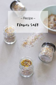 Want to preserve some herbs this fall? Try making flower salt. It's an easy and delicious way to spice up your meals this winter! Look What I Made, Preserving Food, Spice Things Up, Spices, Salt, Herbs, Homemade, Pretty, Flowers