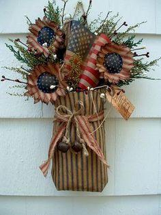 PRIMITIVE DECOR~NAVY TICKING SACK~FLAG~SUNFLOWERS~RUSTY BELLS~AMERICANA | Antiques, Primitives | eBay!