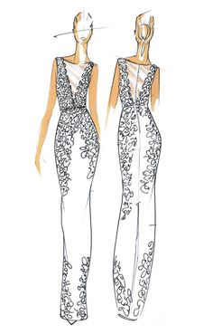 Fall 2013 collection sketch | Nicole Miller | brides.com