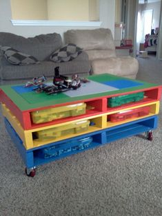 The most colorful creation is here to beautify your house lounge area. This thought-provoking pallet table is crafted with the division of three storage areas. Have easily moving wheels that are making this wonderful for you.