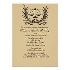 "Justice Wreath Law School Graduation Invitation 5"" X 7"" Invitation Card"