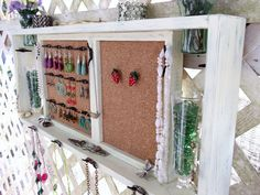 """Jewelry Organizer Wall Display Shelf Message Board """"Antique White & Jade"""" or You Choose Color..Shabby Chic Cottage..Handmade. $130.00, via Etsy."""