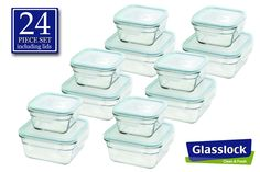 Snaplock Lid Tempered Glasslock Storage Containers 24pc Anti Spill Microwave & Oven Safe 12 containers $60 (amazon)