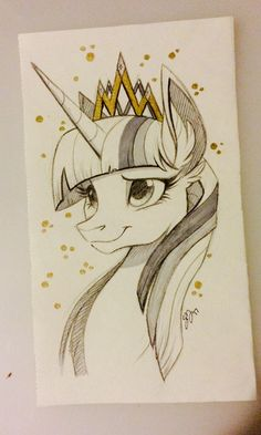 Whoever made this scketch of Twilight, got a real gift for drawing notions! I kind of like using gray scales on my own paintings and everybody likes it. But if I could make a coloured drawing as good as my black and white ones, I would be really happy! Dessin My Little Pony, My Little Pony Cartoon, My Little Pony Drawing, My Little Pony Pictures, Mlp My Little Pony, My Little Pony Friendship, Unicorn Drawing, Unicorn Art, Animal Drawings