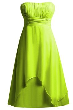 ORIENT BRIDE Strapless Bridesmaid Dresses High Low Prom Dress Gown Size 14 US Lime Green