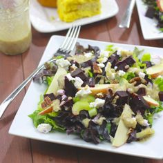 Roasted Beet, Apple & Goat Cheese Salad with Pecan Vinaigrette
