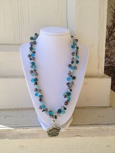 Shades of Blue Multicolored Wire Crochet by LadybugCharJewelry, $40.00