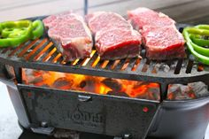 Lovely steaks sizzling away on a Lodge cast iron Hibachi grill. What a perfect way to add some fire to your weekend!