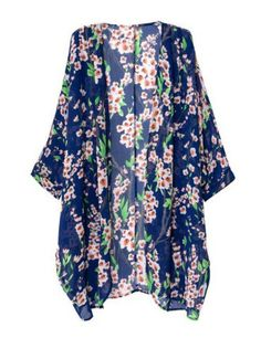Fashionable Collarless Loose-Fitting Floral Print Long Sleeve Women's Kimono Vintage Blouses | RoseGal.com Mobile
