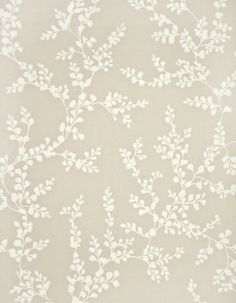 Shadow Fern Floral Wallpaper White shadow fern print on linen wallpaper.