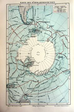 1897 Antique South pole map, antique original antartic regions, Antarctica plate engraving illustration.
