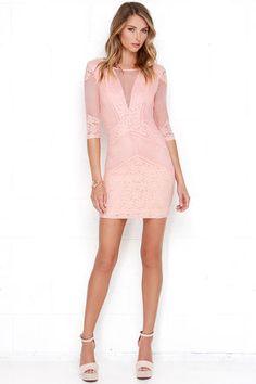 Peach Dress - Bodycon Dress - Lace Dress - $55.00