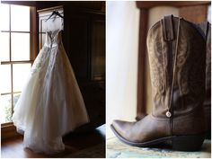 Wedding Day Cowgirl Boots, Cowboy boots, Wedding dress and boots