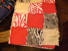 Pink, Black and Yellow Zebra Print Rag Quilt on Etsy, $65.00