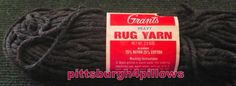 Grant - Rug Yarn - 70 Yards - 2.5 Ozs-  17830 - Black - 75 % Rayon - 25 Cotton - Read Below by pittsburgh4pillows on Etsy