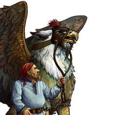 Griffon with rider