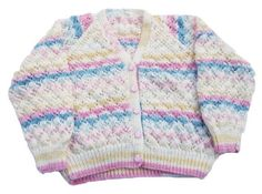 Hand knitted girls stripey V neck cardigan - knitted girls clothes - childrens clothing - childrens knitwear - 26 inch chest  This pretty cardigan has been hand knitted using Baby Design yarn by Ice Yarns. It is a variegated yarn which is self striping in blue, pink, cream and yellow so very girly.  The cardigan is worked in a stockinette stitch with a pretty all over eyelet pattern. It has a V neckline and fastens down the front with pink duck shaped buttons.  To fit 26 inch (66cm) chest…