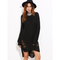 Boohoo Mia Distressed Oversized Jumper | Boohoo (€23) ❤ liked on ...