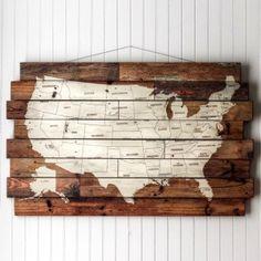 USA Map Wood Art– Large   wall hangings to make   Pinterest   Wood ...