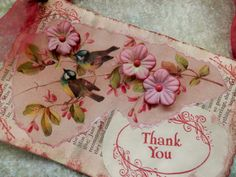 OOAK Mixed Media THANK YOU Card/Hangup  by PaperPastiche on Etsy, $9.95