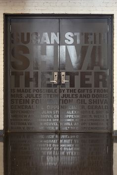 Public Theater // Supergraphics identify specific theaters in the building and acknowledge donors to the spaces. Office Signage, Wayfinding Signage, Signage Design, Door Signage, Retail Signage, Environmental Graphic Design, Environmental Graphics, Architectural Signage, Donor Wall