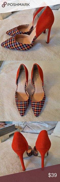 Orange, Purple Plaid HEELS  Brand-new, in the box. Heel measures approximately 4.25 inches. Liliana Shoes Heels
