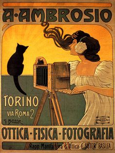 "Cats in Illustration: ""A. Ambrosio photographer"" advertising poster by G. Boano (c. Vintage Italian Posters, Vintage Advertising Posters, Vintage Advertisements, Vintage Ads, Art Nouveau, Black Cat Art, Black Kitty, Black Cats, Retro Poster"