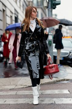 See the looks that caught our attention, and stay tuned for more of Milan Fashion Week's top street style moments. #RaincoatsForWomenBlue