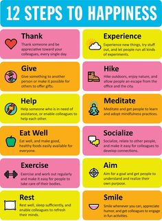 12 steps to happiness.  Repinned by Australia Team building http://teambuildingaustralia.com.au