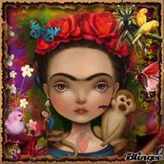Frida archival print -- Frida Kahlo tribute for kids by Meluseena, frida monkey print, mexican wall decor, art illustration Art And Illustration, Illustrations, Mexican Wall Decor, Mexican Folk Art, Mexican Style, Diego Rivera, Art Chicano, Frida And Diego, Folk Print