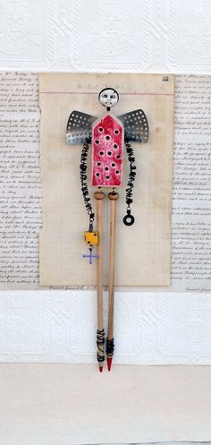Assemblage Mixed Media  Angel Gabe by Indiandollartworks on Etsy, $140.00