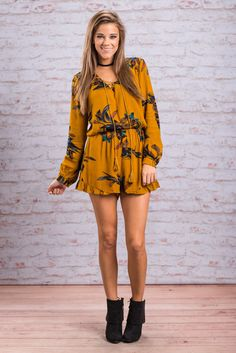 """""""Present Paradise Romper, Mustard"""" You will be in paradise once you have this romper in your possession! It's deep mustard yellow coloring is perfect for fall! Actually everything about this romper is perfect for fall! And we adore this one with booties!!  #Newarrivals #shopthemint"""